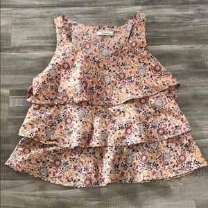 Freebird Pink Floral Ruffle Top Size 1